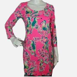 LILLY PULITZER Pima Cotton Knit Dress Pink Parrot